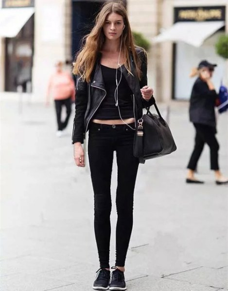 black leather jacket with bucket neck crop and slim jeans