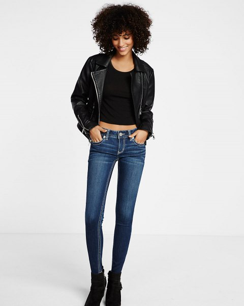 black leather jacket with scoop neck shoes and dark blue skinny jeans