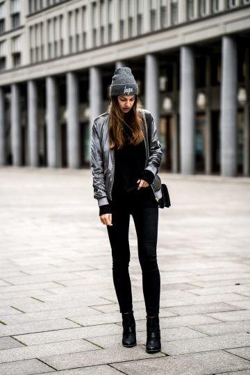 gray velvet cotton jacket with black super skinny jeans