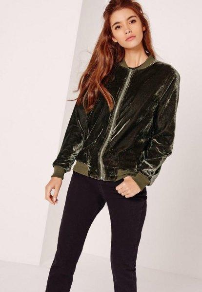 dark gray velvet jacket with black skinny jeans