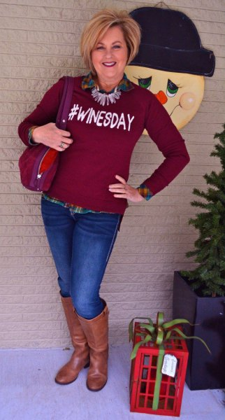 burgundy graphic sweater with checkered boyfriend shirt