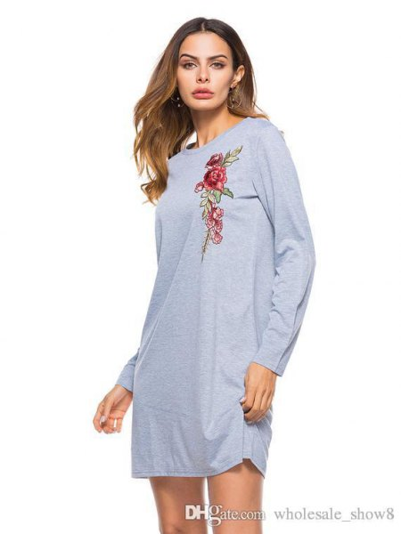 gray floral graphic long sleeve dress