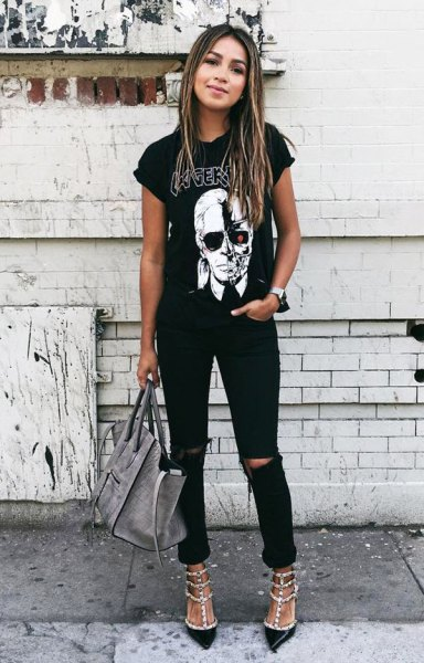 black rolled sleeve graphic with ripped jeans and sequins with heels