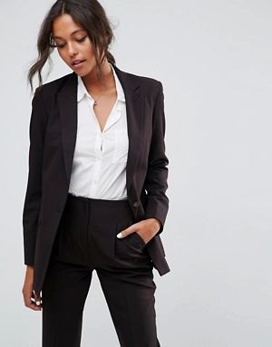 oversized suit jacket with white button shirt and high waisted pants