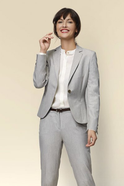 light gray casual jacket with collar-free shirt