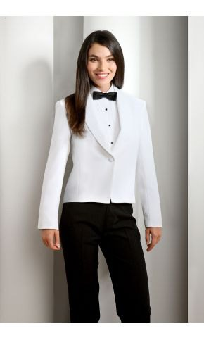 white tuxedo dinner jacket with black pants and bow tie