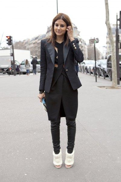 slim fit black dinner jacket with knee length dress