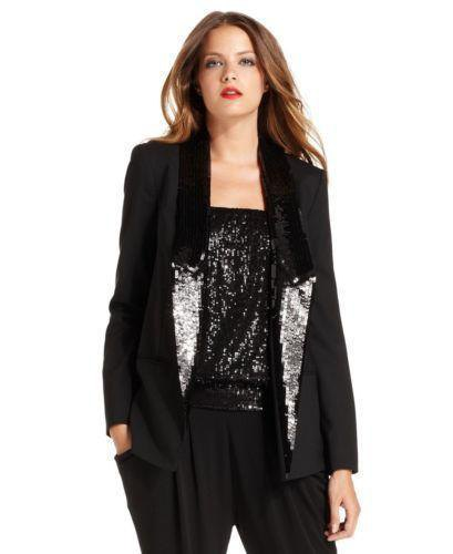 black sequin with long line dinner jacket with shiny tube top