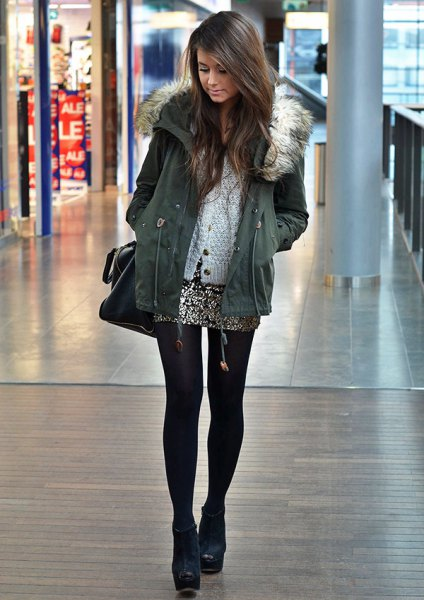 parka jacket with gray fur with mini skirt in silver sequin