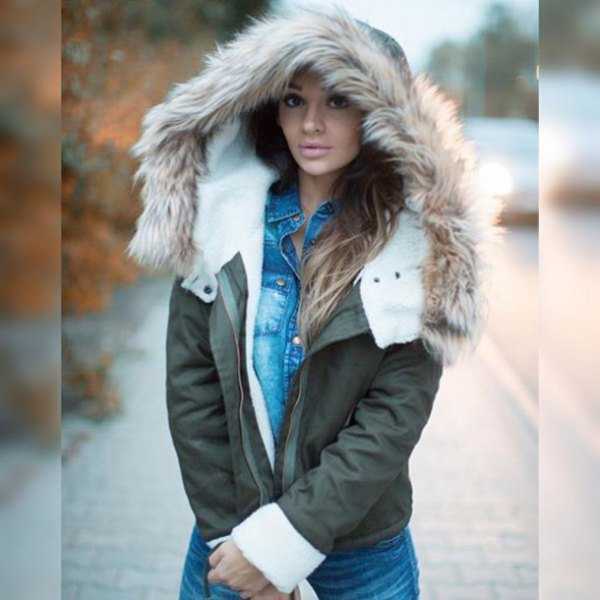 gray fur jacket with blue chambray button