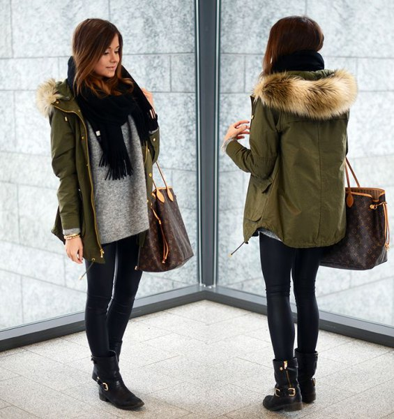 parka jacket with green fur with gray sweater and black knitted scarf