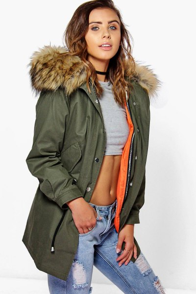 green oversized jacket with gray crop top and boyfriend jeans