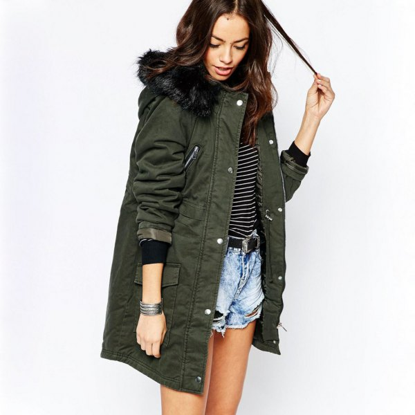 long gray parka jacket with striped tee and blue denim mini shorts