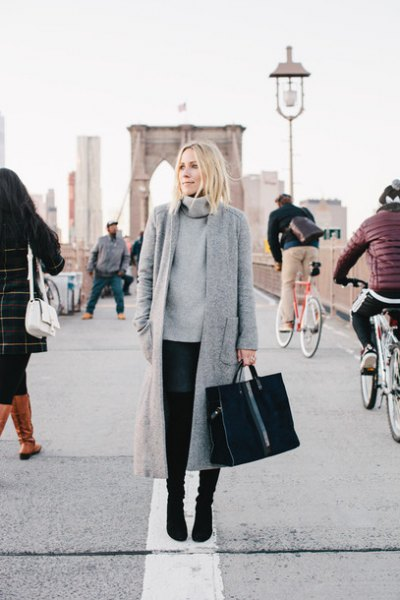 gray maxi wool long jacket with turtleneck chunky sweater