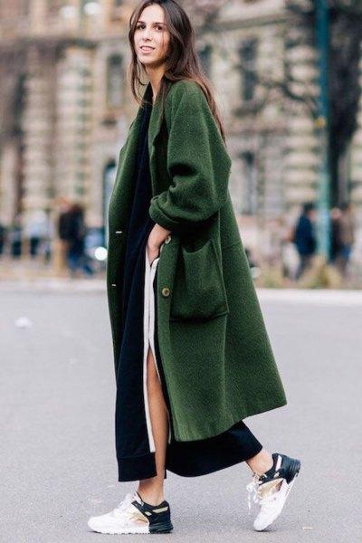 gray maxi long winter wool coat with white slit maxi dress