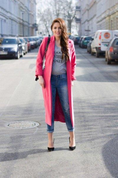 camel longline wool coat with gray print tee
