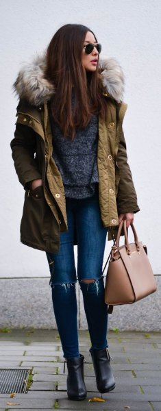 brown faux fur hooded long line bomber jacket with ripped skinny jeans