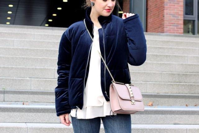 navy velvet cotton jacket with white chiffon blouse