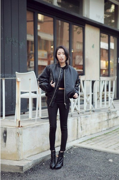 black crop top with skinny ankle jeans and leather fly jacket