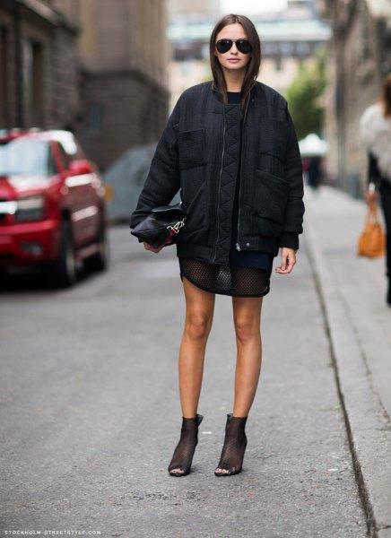 black mini dress with casual oversized jacket