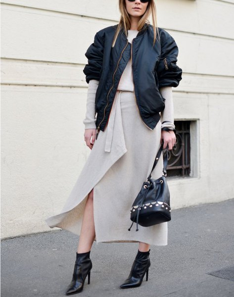 light pink maxi shawl skirt with black casual jacket