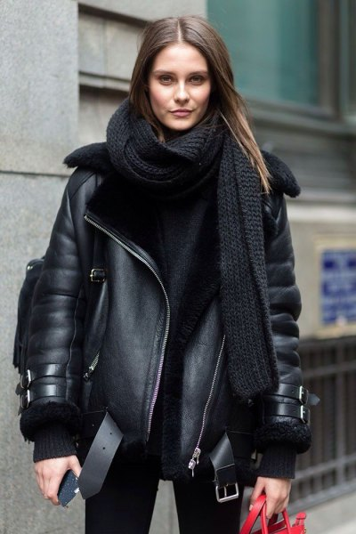 black leather fly jacket with long knit scarf