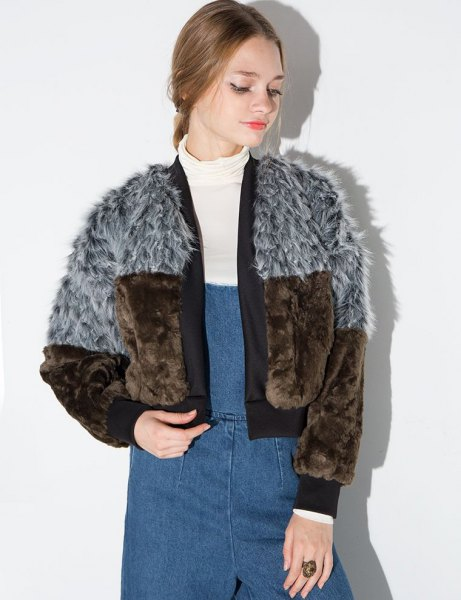 gray and brown color blocks faux fur bomber jacket and denim braces dress