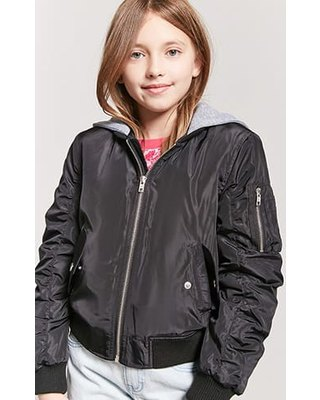 black bomber jacket with gray hood