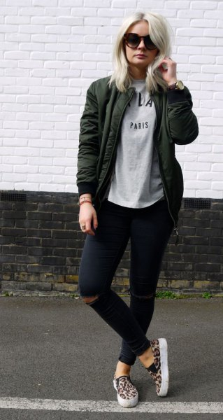 dark gray jacket with sweater and black ripped skinny jeans