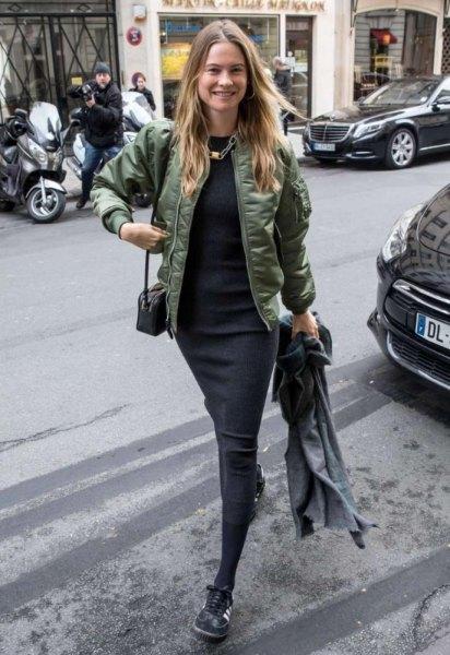green semi-gloss fly jacket with black midi shift dress