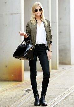 bomber jacket with white v-shirt and black skinny jeans