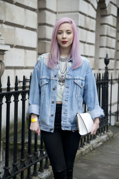 light blue boyfriend clothing jacket with white cropped tee and black jeans