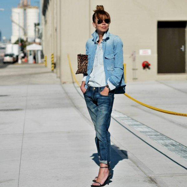 blue denim jacket with light chambray button and straight leg shirt