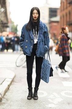 blue faux fur collar boyfriend denim jacket with black high rise jeans