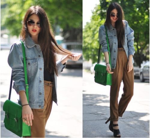 big blue denim jacket with green high waisted chinos
