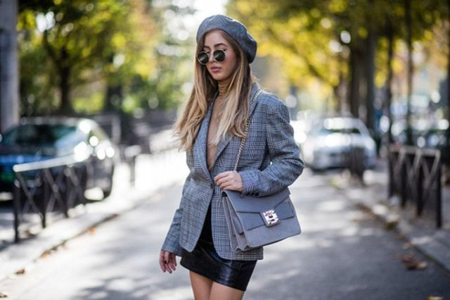 tweed gray checkered oversized blazer with black mini leather skirt