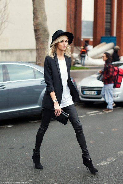 black felt hat with blazer and coated skinny jeans