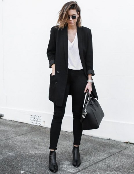 black large blazer jacket with white v-shirt and boots
