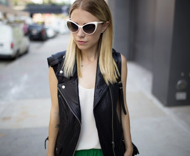 white chiffon vest with black motorcycle vest