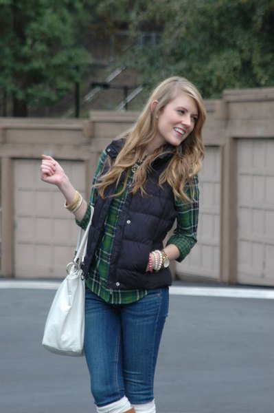 black quilted vest with gray and navy checkered boyfriend shirt
