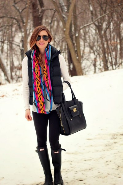 white long-sleeved tee with rainbow-colored scarf