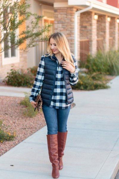 black and white checkered boyfriend shirt with puffer vest