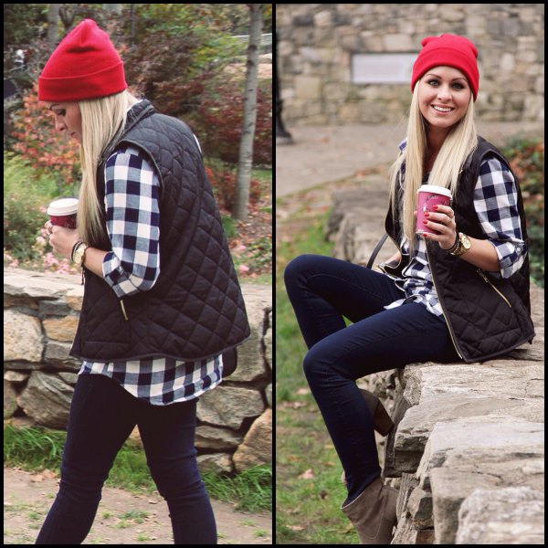 red knitted hat with plaid shirt and dark blue jeans
