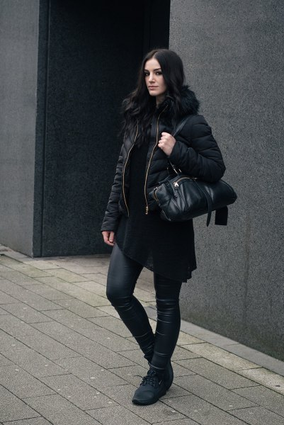 black padded faux fur collar padded jacket with leather leggings
