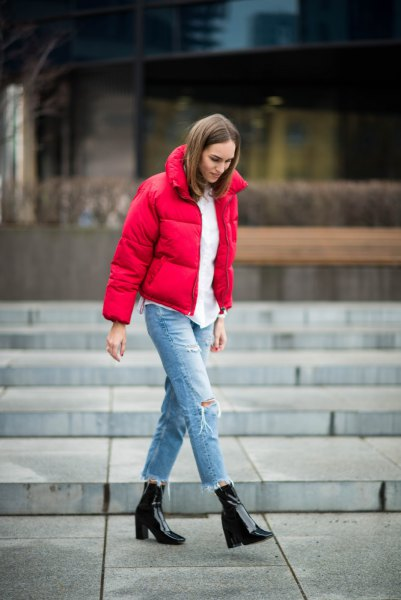 red puffer jacket with white blouse and boyfriends