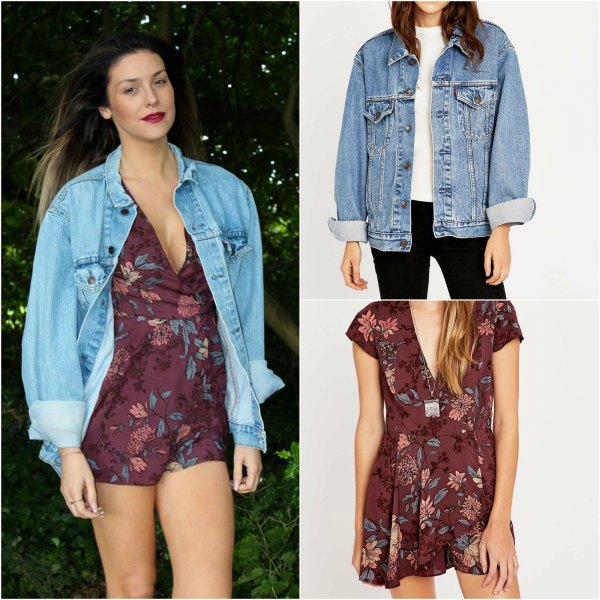 blue boyfriend denim jacket with gray floral v-rompers