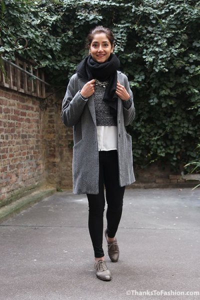 gray boyfriend wool jacket with white chiffon shirt and oxford shoes