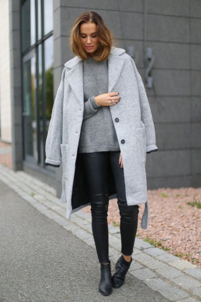 longline wool boyfriend clothing with sweater and black leather leggings