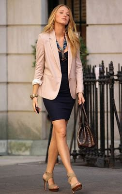 light pink blazer with black mini dress