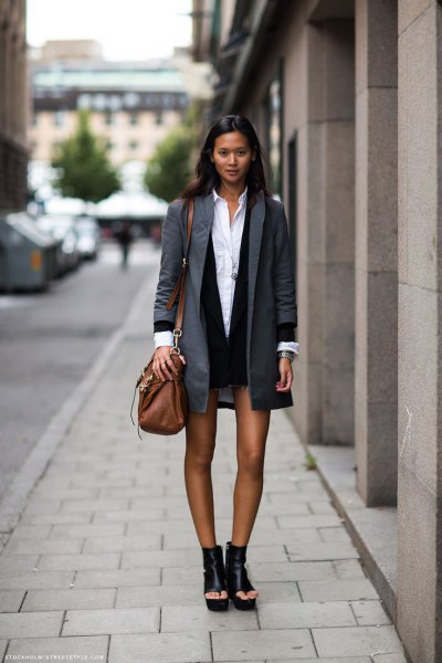 gray boyfriend jacket with black mini dress